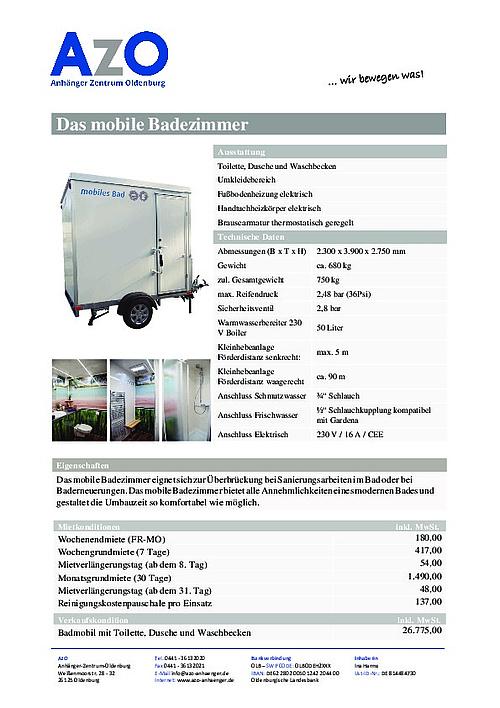 mobiles Badezimmer Badanhänger mit WC, Dusche, Waschtisch ...